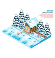 winter landscaping isometric composition vector image vector image