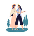 women friends girlfriends walking together and vector image