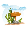 wooden pointer with cacti in desert vector image