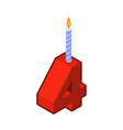 4 number and candles for birthday four figure for vector image vector image