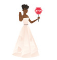 african-american fiancee holding stop road sign vector image vector image