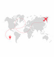 airplane path in dotted line shape on world map vector image