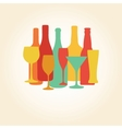 Alcohol Bottles and glasses pattern Beer champagne vector image vector image