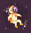 astronaut in space suit working in deep space vector image vector image