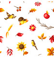 autumn seamless pattern with seasonal leaves vector image