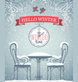 banner with snow-covered outdoor cafe and clock vector image vector image