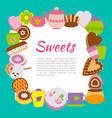 banner with sweets and cups vector image