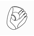 Baseball glove with ball icon isometric 3d style vector image vector image