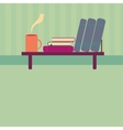 Bookshelf with books and cup of tea in style flat vector image vector image