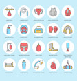 boxing line icons punchbag boxer gloves vector image