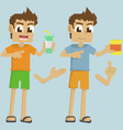 boy hand holding cup and snack vector image vector image