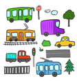 cartoon city transport trees roads lights vector image vector image