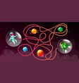 cartoon cosmic maze education game vector image vector image