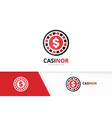casino logo combination chip and game vector image vector image