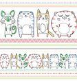 cats line art pattern vector image
