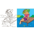 Colouring Book Of Girl With Cat vector image