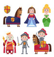 creative set of medieval characters on white vector image