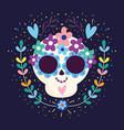 day dead skull hearts flowers blossom vector image