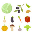 different kinds of vegetables cartoon icons in set vector image