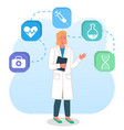 doctor woman with clipboard icons syringe vector image