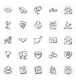 doodle icon set of hearts and valentine vector image vector image