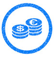euro and dollar coins rounded icon rubber stamp vector image vector image
