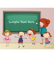 Frame design with teacher and students vector image vector image