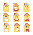 funny cartoon humanized house with with many vector image vector image