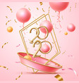 happy 2020 new year poster pink balloons vector image vector image