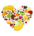 heart shape by various fruits heart of coconut vector image