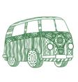 Hippie vintage car vector image vector image