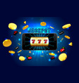 jackpot lucky wins golden slot machine casino on vector image vector image