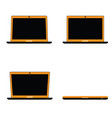 laptop set technology in orange color vector image