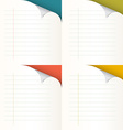 Lined Papers Set with Bent Corners vector image vector image