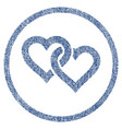 linked hearts rounded fabric textured icon vector image vector image