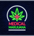 medical marijuana neon sign legal cannabis for vector image