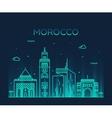 Morocco skyline trendy linear vector image vector image