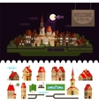 Night in the city Set of elements - home church vector image