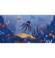 ocean underwater cartoon sea animals and seaweeds vector image