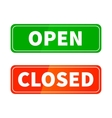 Open and closed glossy signs for shop door vector image vector image