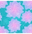 Ornate violet flowers on lacy blue background vector image vector image