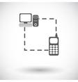 Phone sync single flat icon vector image vector image