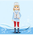 pretty girl on a winter background vector image vector image