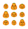 pumpkins for halloween funny scary faces vector image