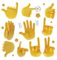 realistic detailed 3d emoji hands set vector image