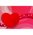 red and pink wave abstract with hearts shape vector image vector image