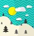 Retro Flat Design Landscape with Hills and T vector image vector image