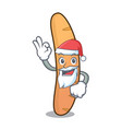 santa baguette mascot cartoon style vector image vector image