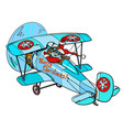 santa claus is flying on a plane white isolated vector image vector image