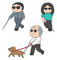 set of blind people vector image